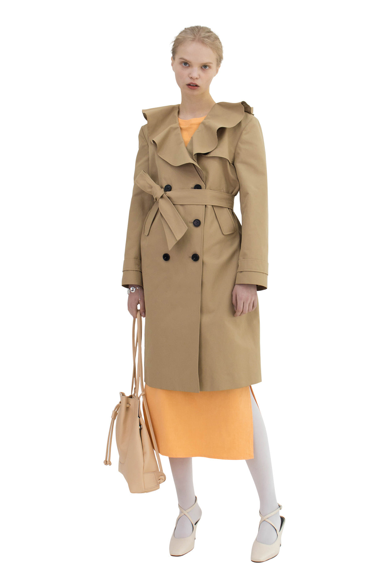 Ruffled Trench (young beige)